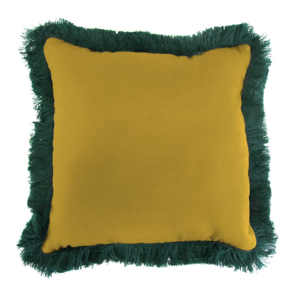 Sunbrella Canvas Maize Square Outdoor Throw Pillow with Forest Green Fringe