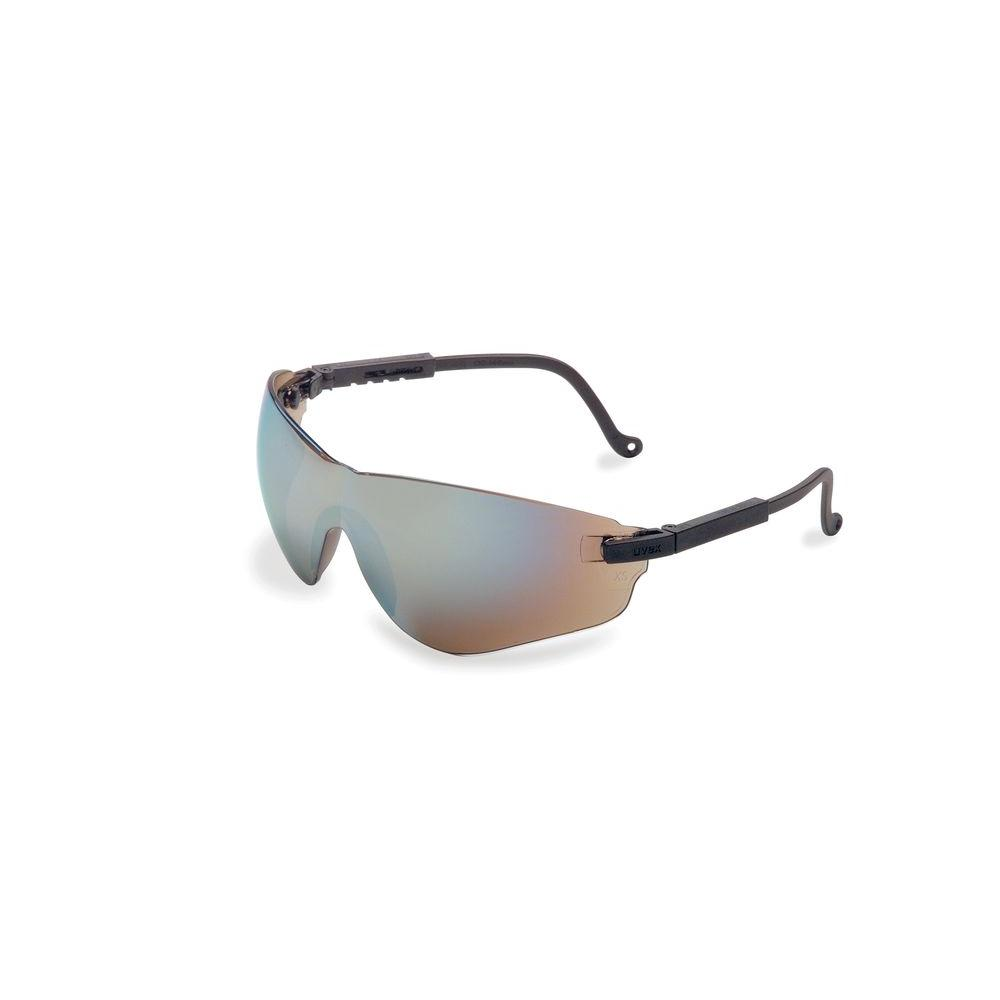 Uvex Falcon Safety Glasses with Gold Mirror Tint Ultra-dura Lens and Black Frame