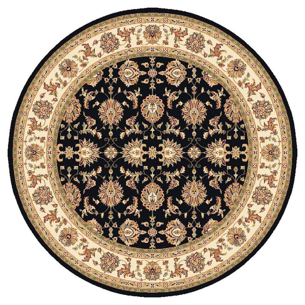 Traditional Kashan Black 7 ft. 7 in. x 7 ft. 7 in. Round Area Rug