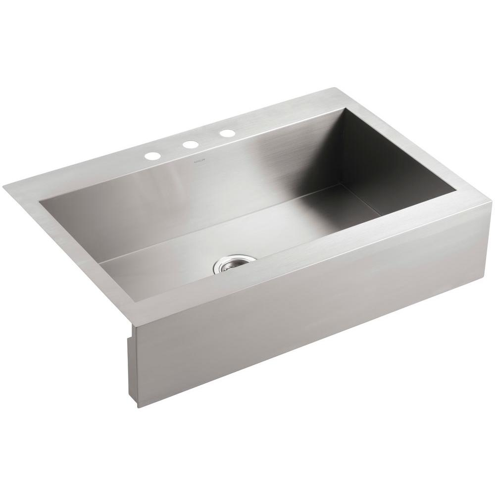 Vault Drop-In Farmhouse Apron-Front Stainless Steel 36 in. 3-Hole Single Basin