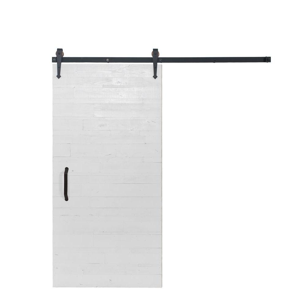 Rustica hardware 42 in x 84 in rustica reclaimed white wood barn door with arrow sliding door - Barn door track hardware home depot ...