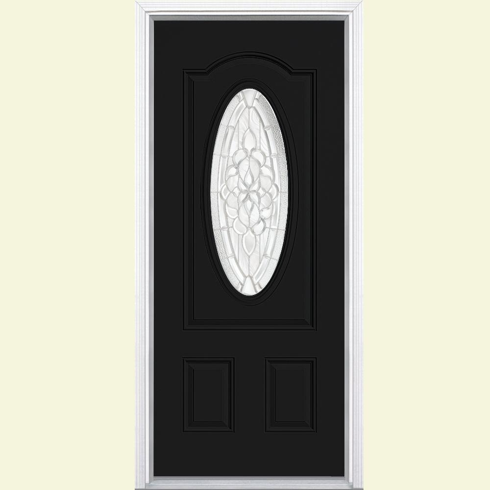 Masonite 36 in. x 80 in. Oakville 3/4 Oval Jet Black Right-Hand Painted Smooth Fiberglass Prehung Front Door w/ Brickmold