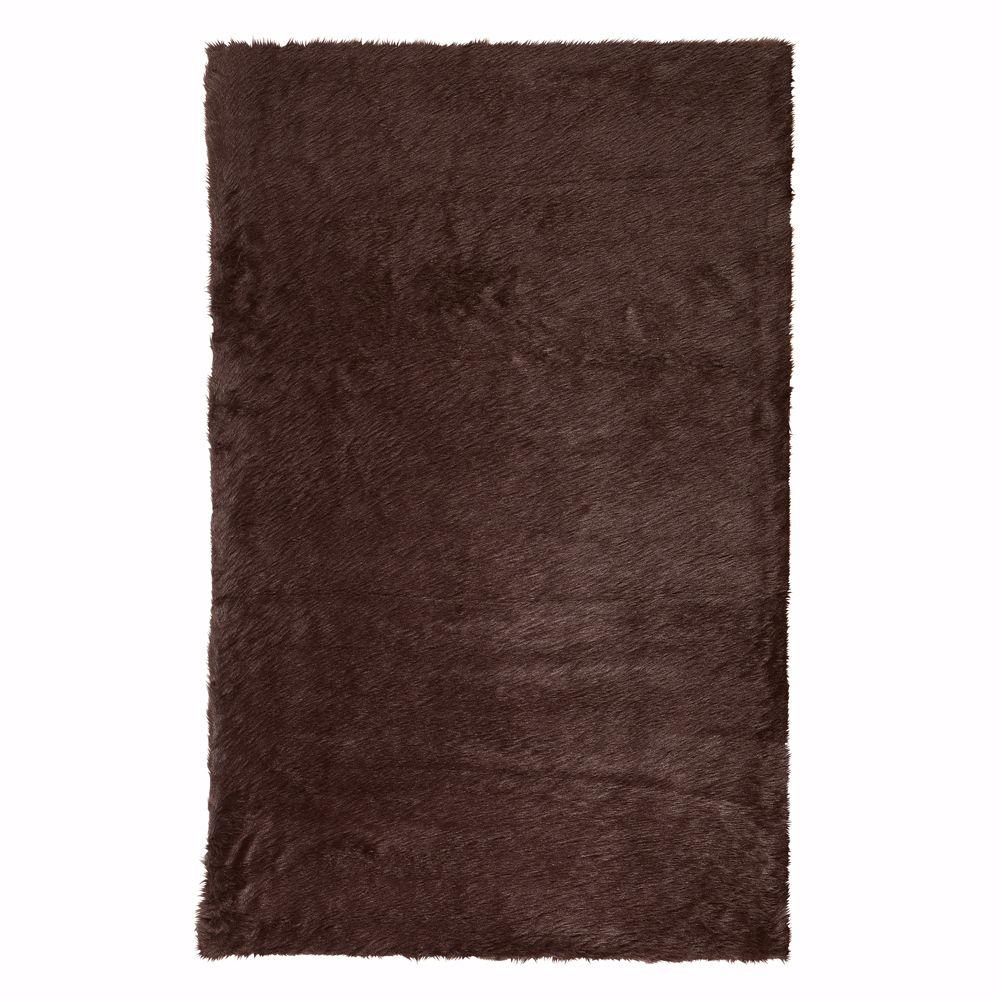 Home Decorators Collection Faux Sheepskin Chocolate 3 ft. x 5 ft. Area Rug