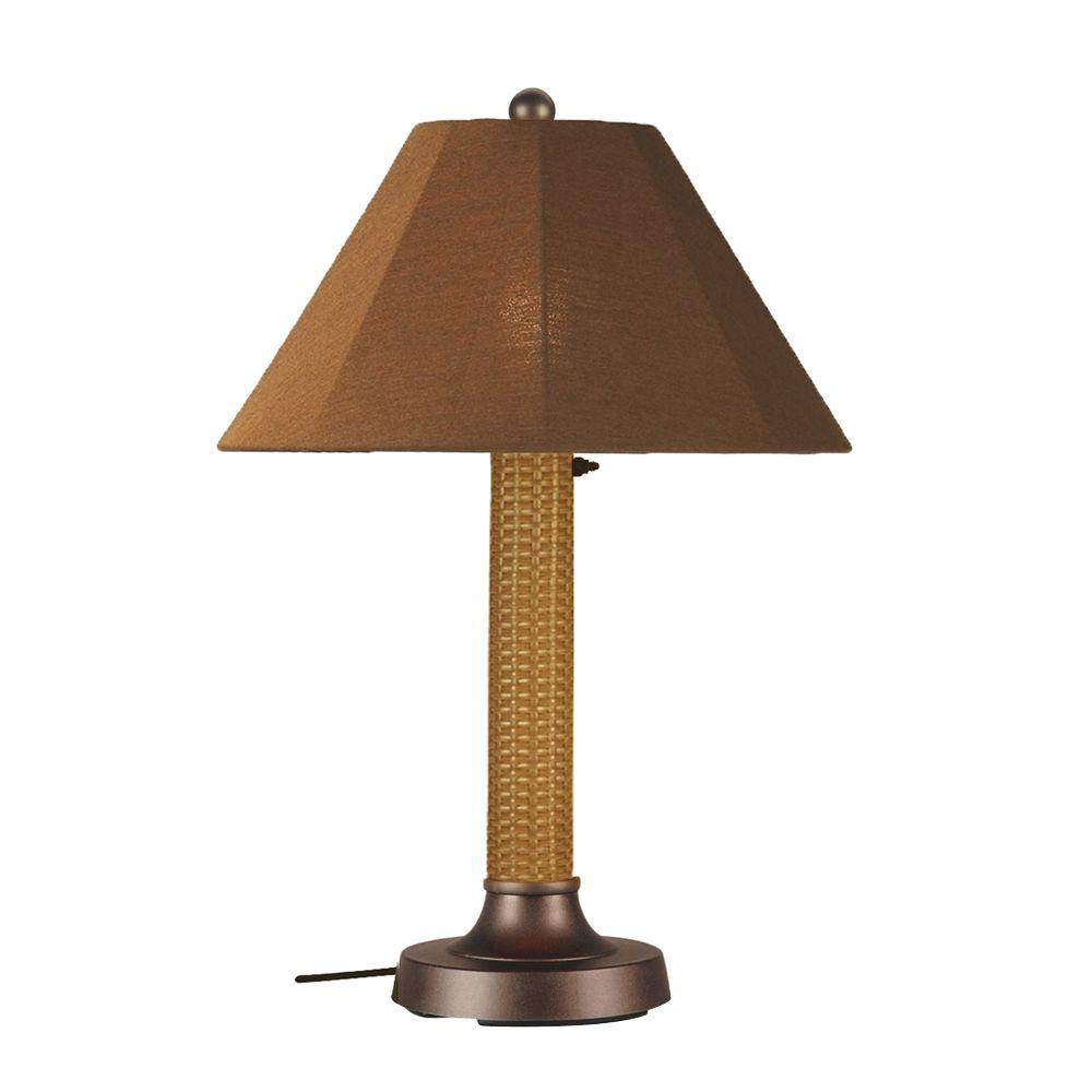 Bahama Weave 34 in. Mocha Cream Outdoor Table Lamp with Teak