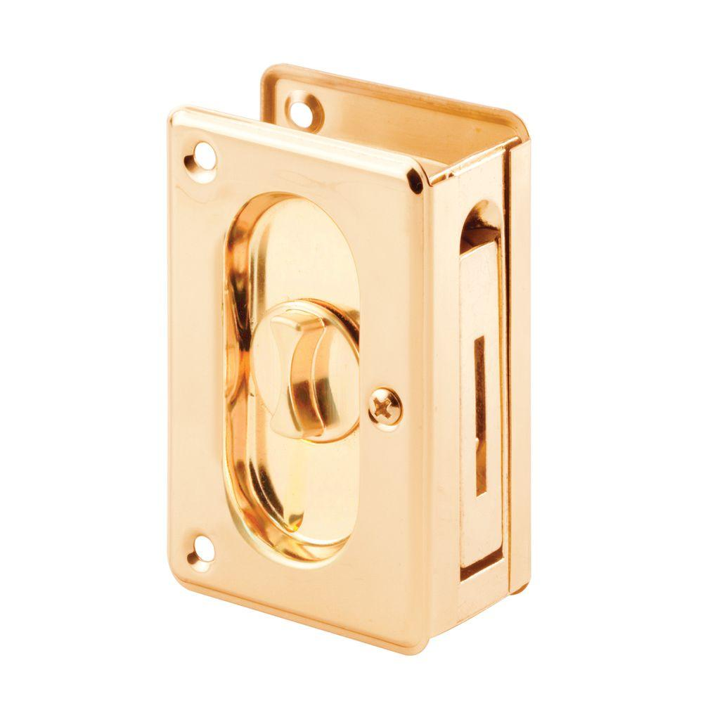 Prime-Line 3-3/4 in. Brass Pocket Door Privacy Latch
