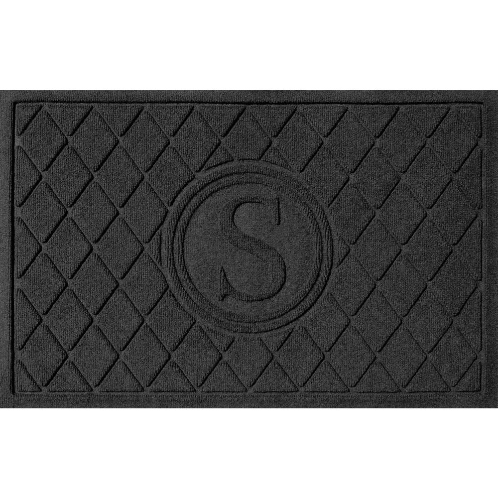 Argyle Charcoal (Grey) 24 in. x 36 in. Monogram S Door Mat