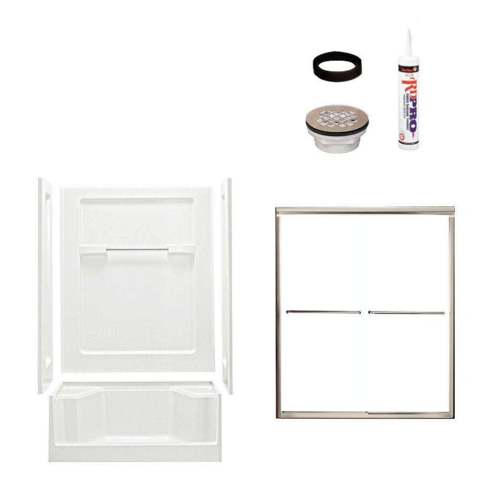 Advantage 34 in. x 48 in. x 72 in. Shower Kit with Shower Door in White/Nickel-DISCONTINUED