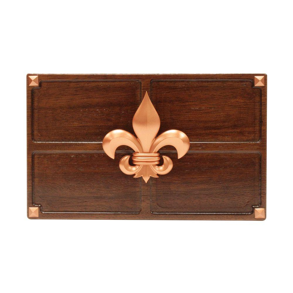 Wireless or Wired Door Bell, Medium Red Oak Wood with Fleur-De-Lis