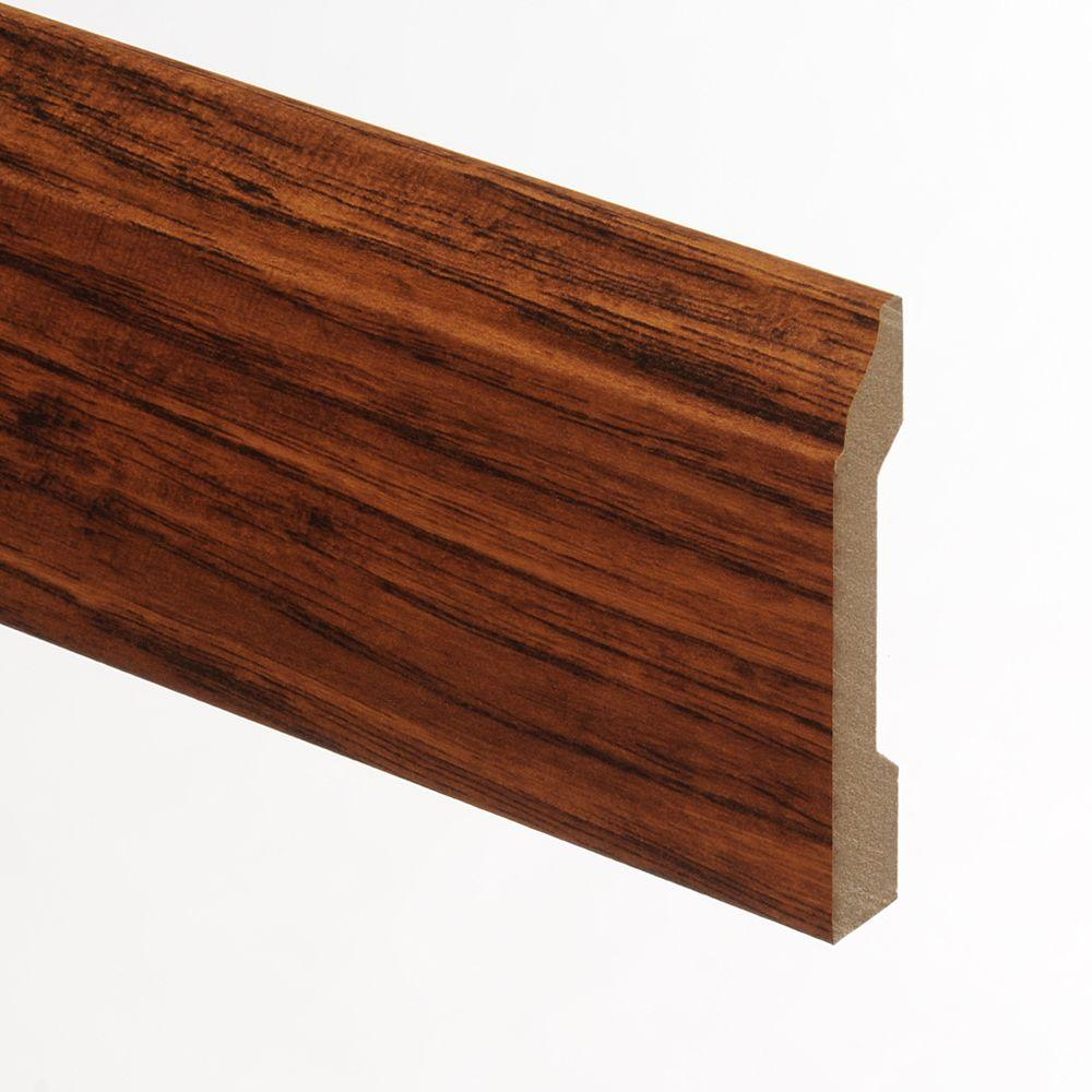 Laminate Molding & Trim: Zamma Building Materials Cleburne Hickory / Distressed Brown Hickory 9/16 in. Thick x 3-1/4 in. Wide x 94 in. Length Laminate Wall Base Molding 013041525