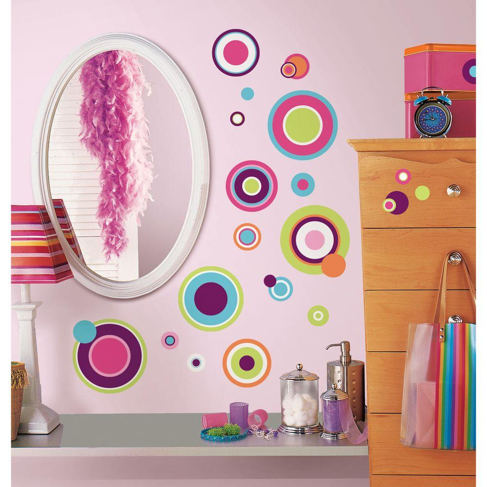 null 10 in. x 18 in. Crazy Dots 31-Piece Peel and Stick Wall Decals