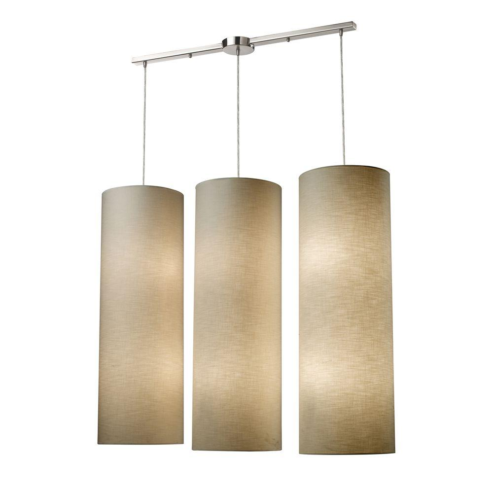 Fabric Cylinders 12-Light Satin Nickel Ceiling Pendant