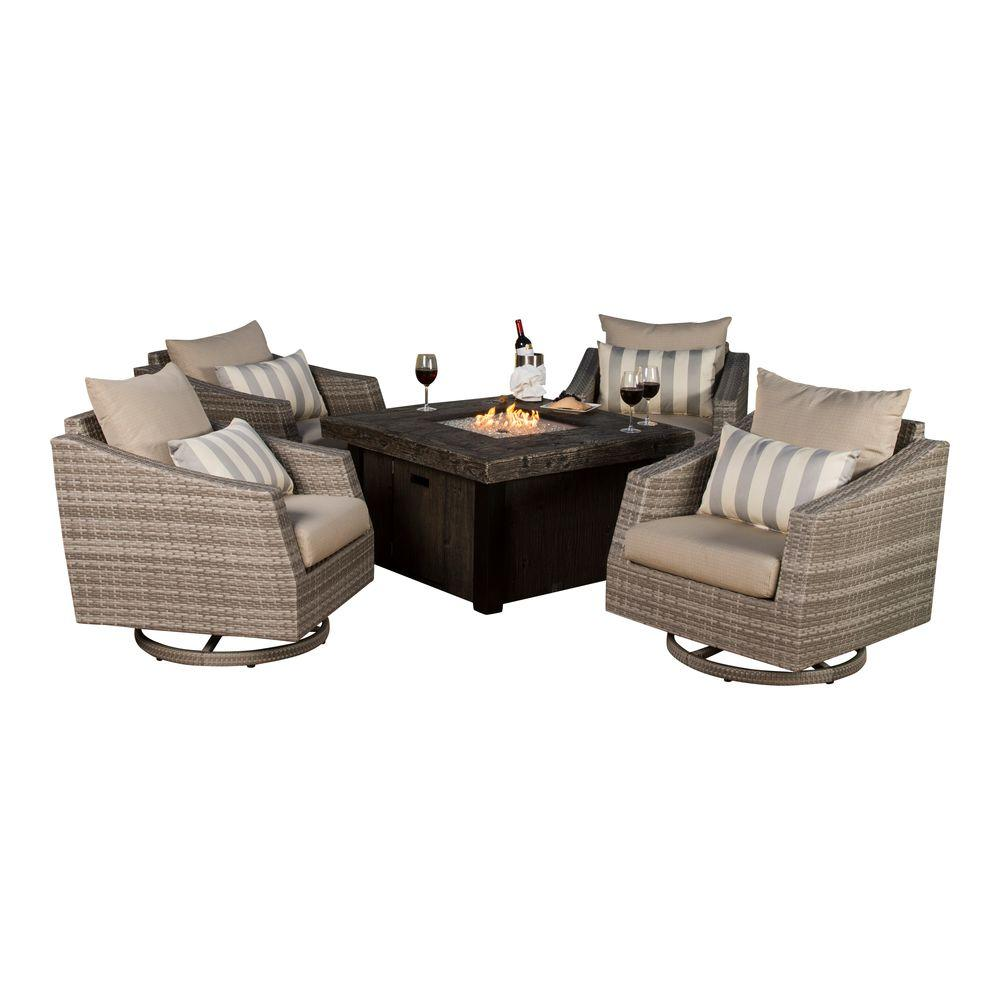 Cannes 5-Piece All-Weather Wicker Fire Pit Patio Conversation Set with Slate