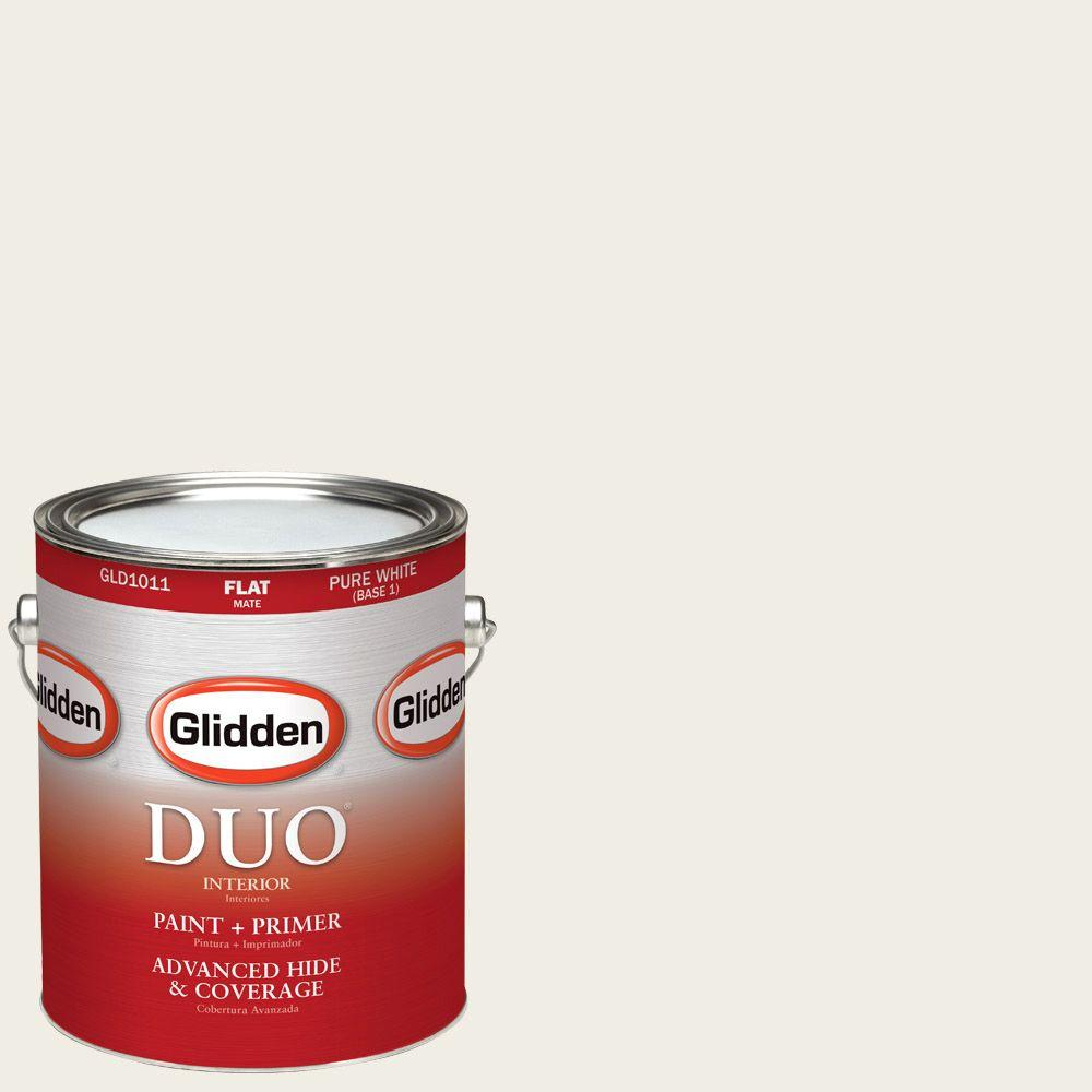 Glidden DUO 1-gal. #HDGG30 Muslin White Flat Latex Interior Paint with Primer