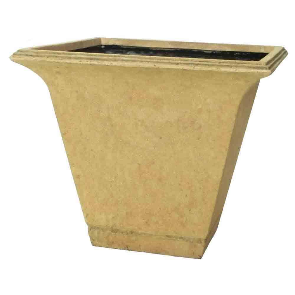 MPG 21 in. Cast Stone Square Tapered Planter in sandstone finish-DISCONTINUED