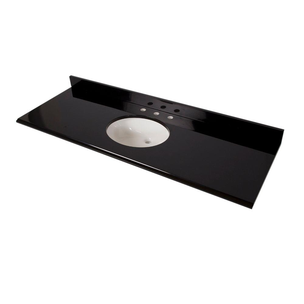 St. Paul 61 in. x 22 in. Colorpoint Vanity Top in Black with White Bowl