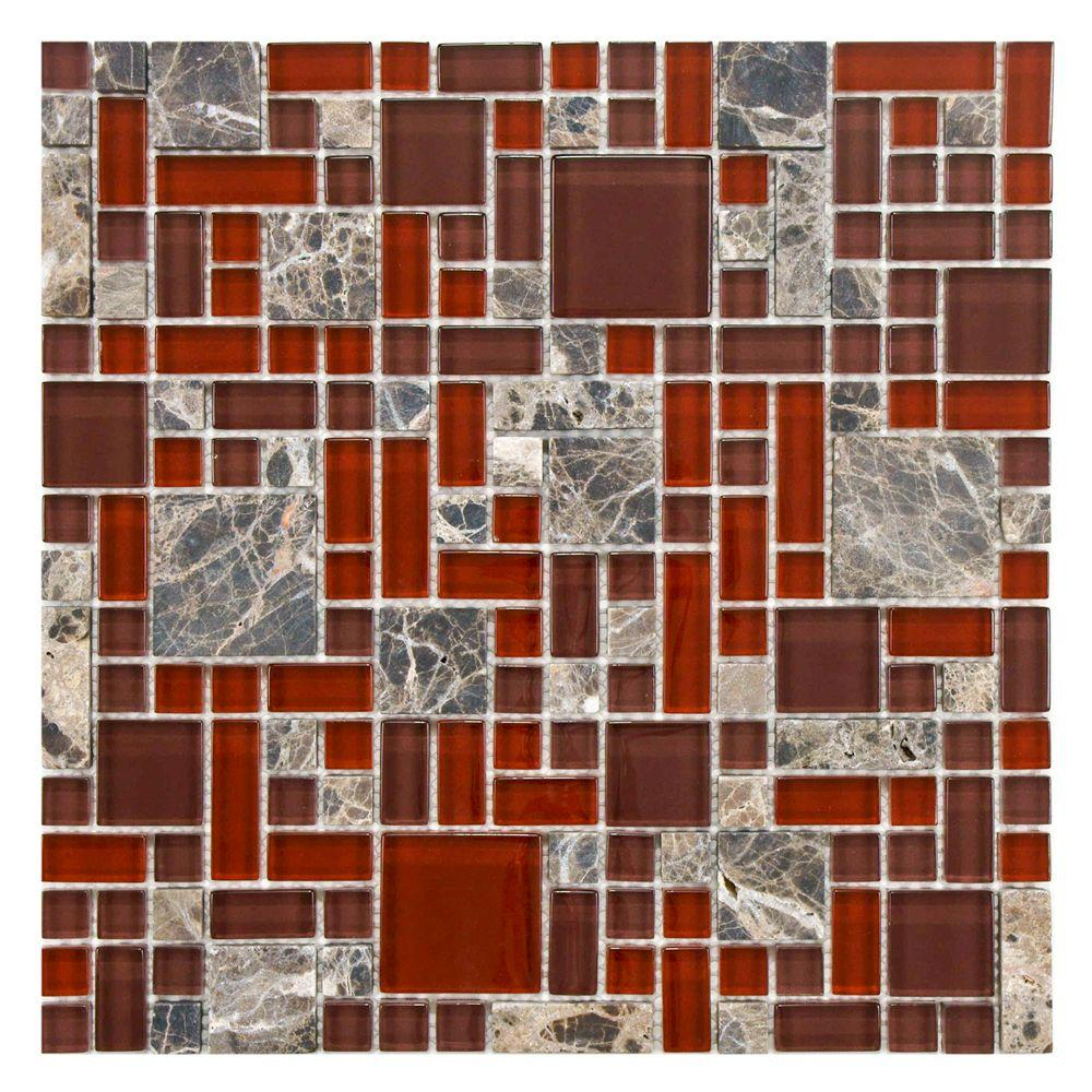 Merola Tile Tessera Versailles Bordeaux 11-3/4 in. x 11-3/4 in. x 8 mm Glass and Stone Mosaic Tile, Clear And Frosted Glass/Multicolored Natural Stone