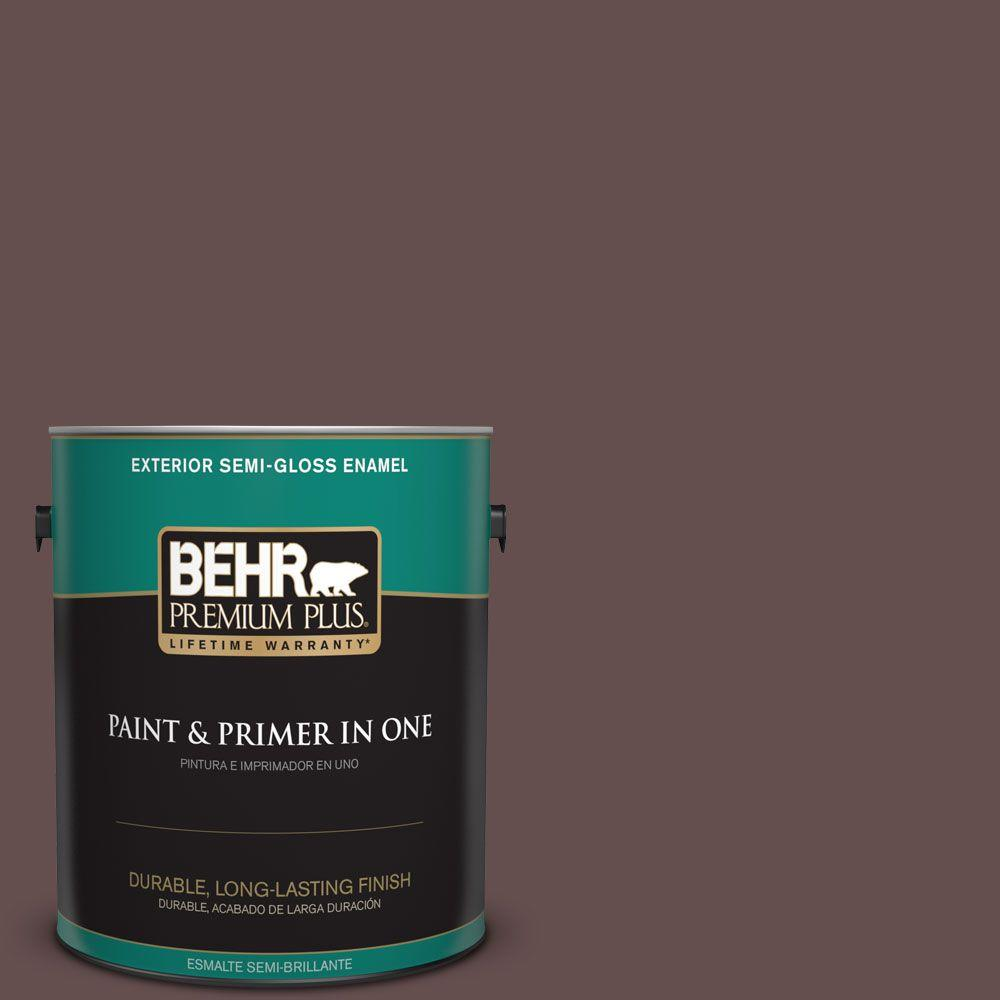 BEHR Premium Plus 1 gal. #HDC-CL-13A Library Leather Semi-Gloss Enamel Exterior