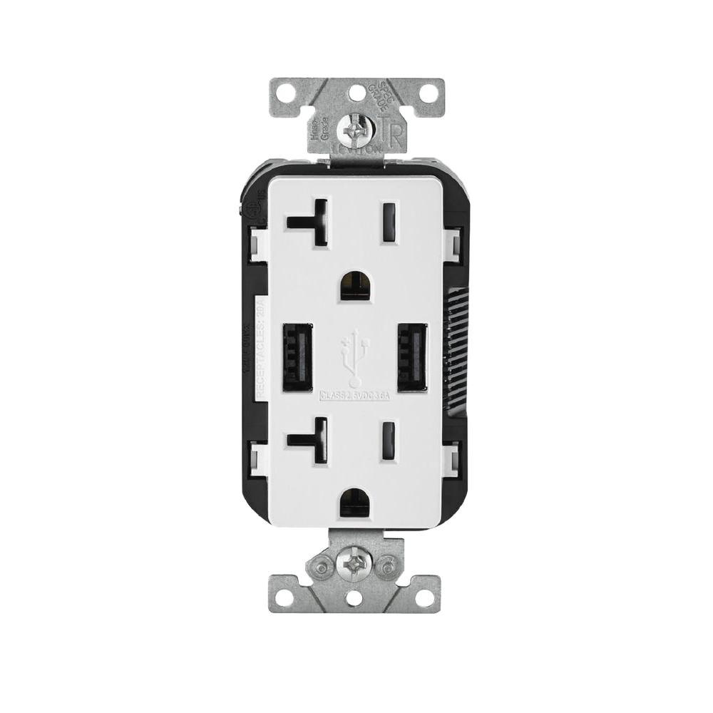 usb port outlets receptacles dimmers switches outlets decora 20 amp 125 volt combination duplex receptacle and usb charger white