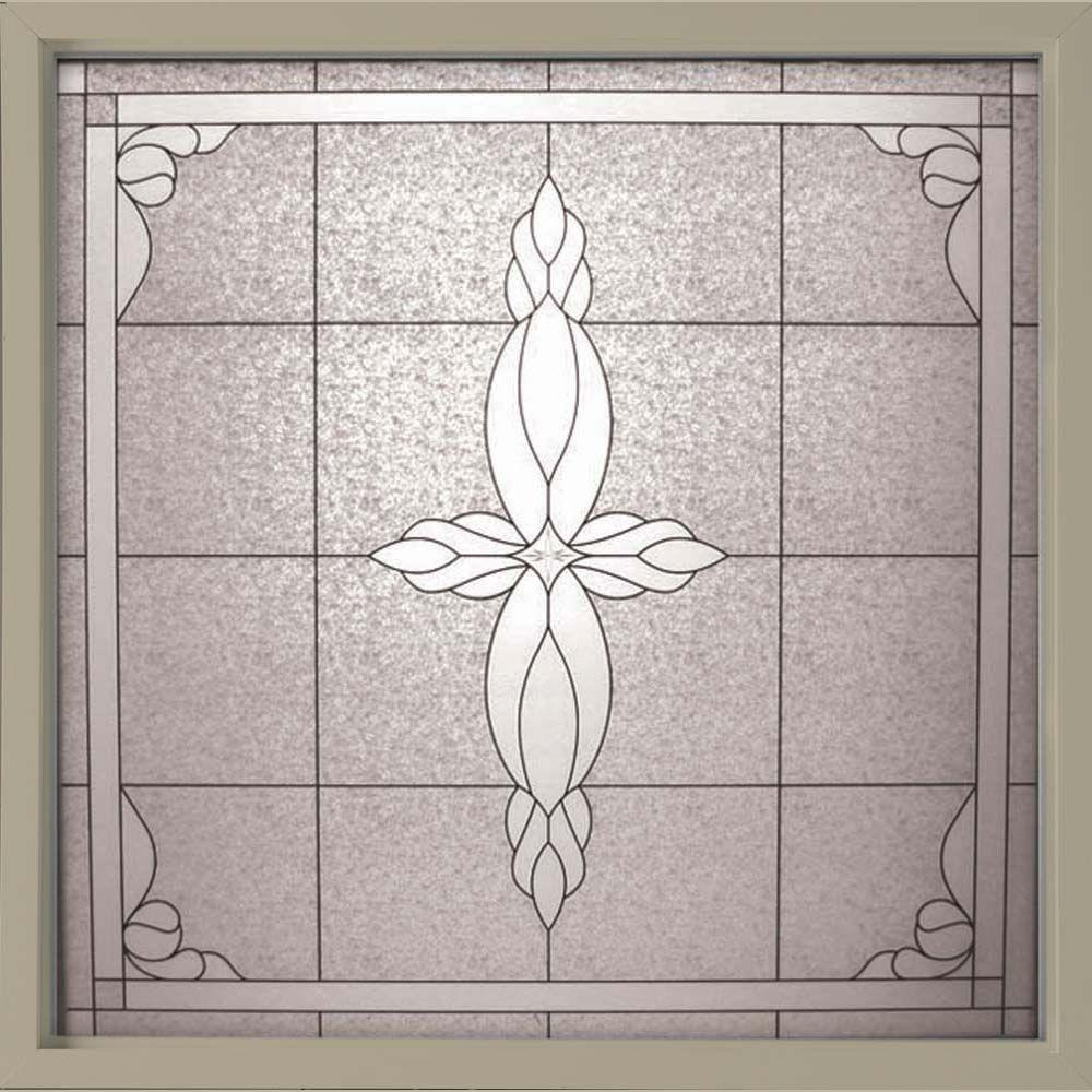 49.75 in. x 49.75 in. Decorative Glass Fixed Vinyl Window -