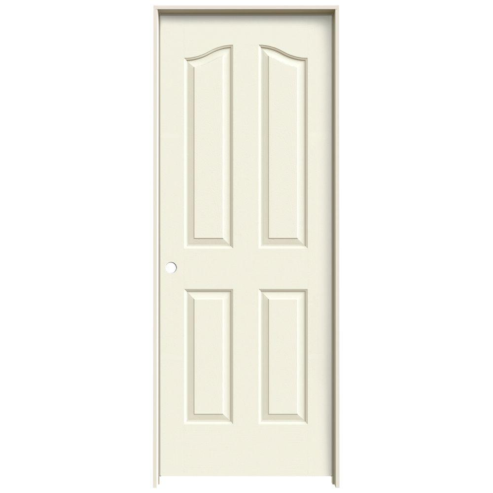 30 in. x 80 in. Provincial Vanilla Painted Right-Hand Smooth Molded