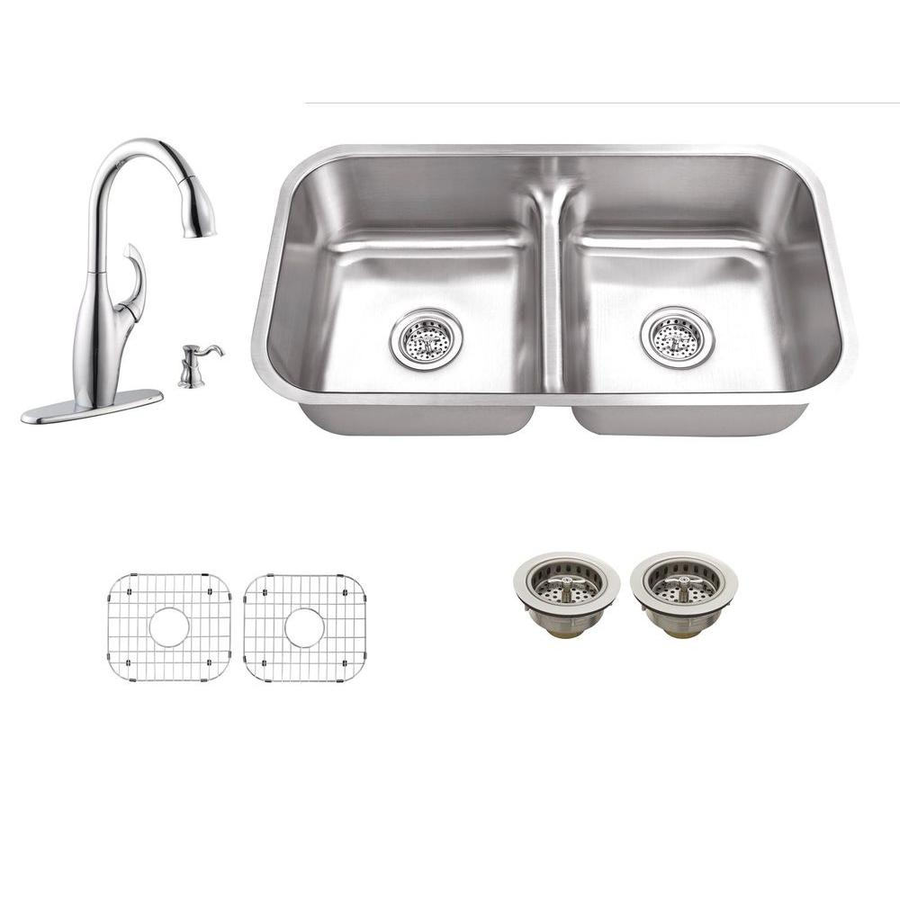All-in-One Undermount Stainless Steel 30 in. 0-Hole Double Bowl Kitchen Sink