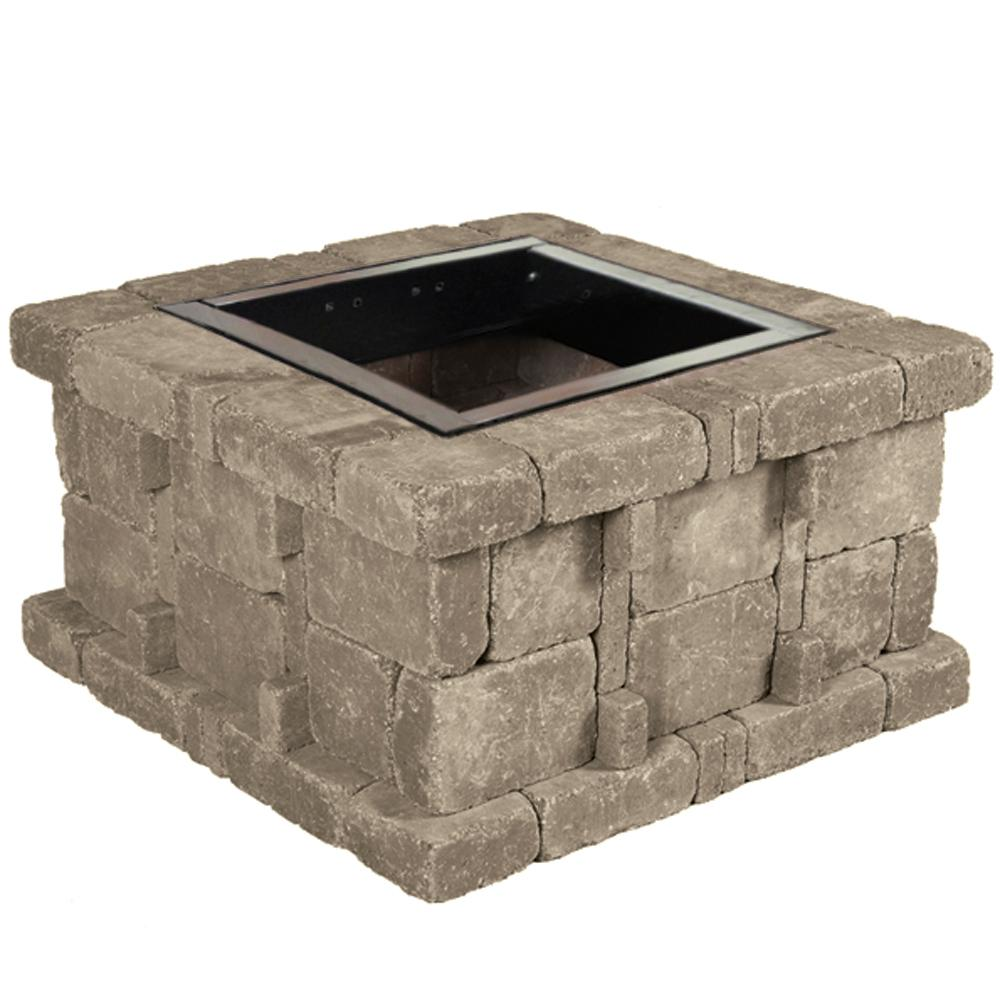 Pavestone 38.5 in. x 21 in. Rumblestone Square Fire Pit Kit in Greystone