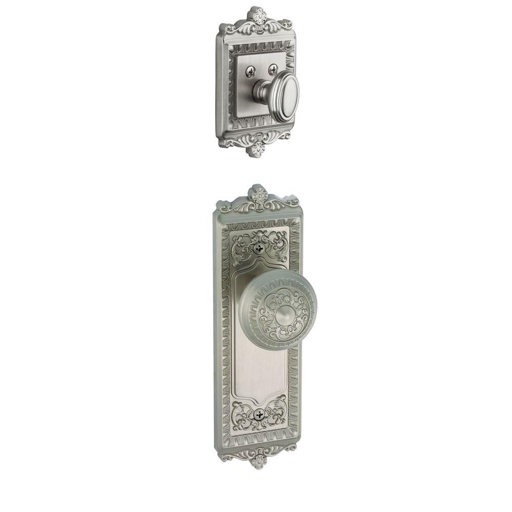 Grandeur Windsor Single Cylinder Satin Nickel Combo Pack Keyed Differently with Knob and Matching Deadbolt
