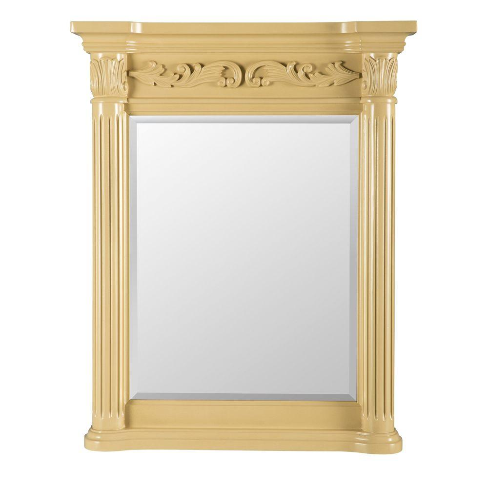 Belle Foret Estates 34 in. L x 28 in. W Wall Mirror in Antique White