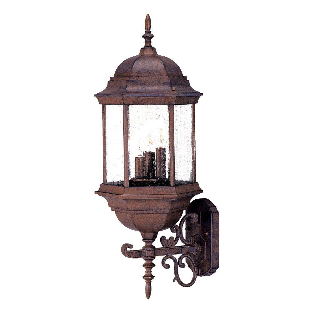 Madison Collection 3-Light Burled Walnut Outdoor Wall-Mount Light Fixture