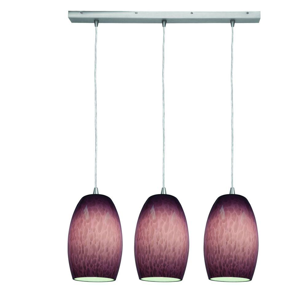Access Lighting 3-Light Pendant Oil Rubbed Bronze Finish Plum Cloud Glass-DISCONTINUED