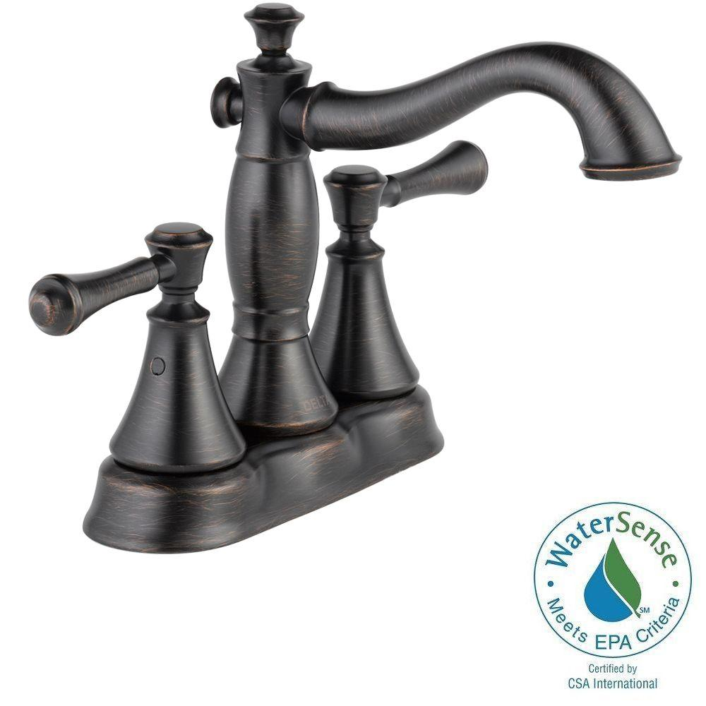 Delta Cassidy 4 In Centerset 2 Handle Bathroom Faucet With Metal Drain Assembly In Venetian