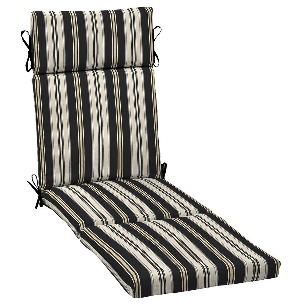 Black Stripe Outdoor Chaise Lounge Cushion