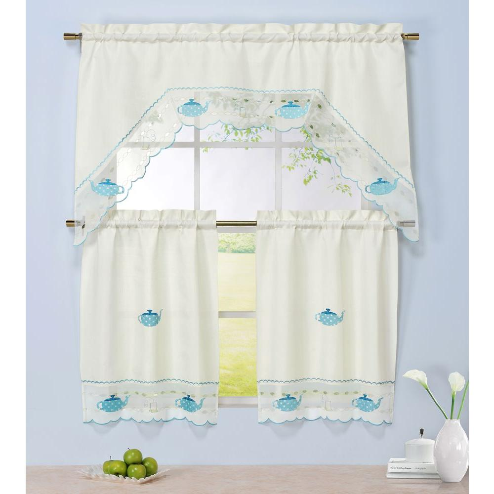 Window Elements Semi Opaque Tea Time Embroidered 3 Piece
