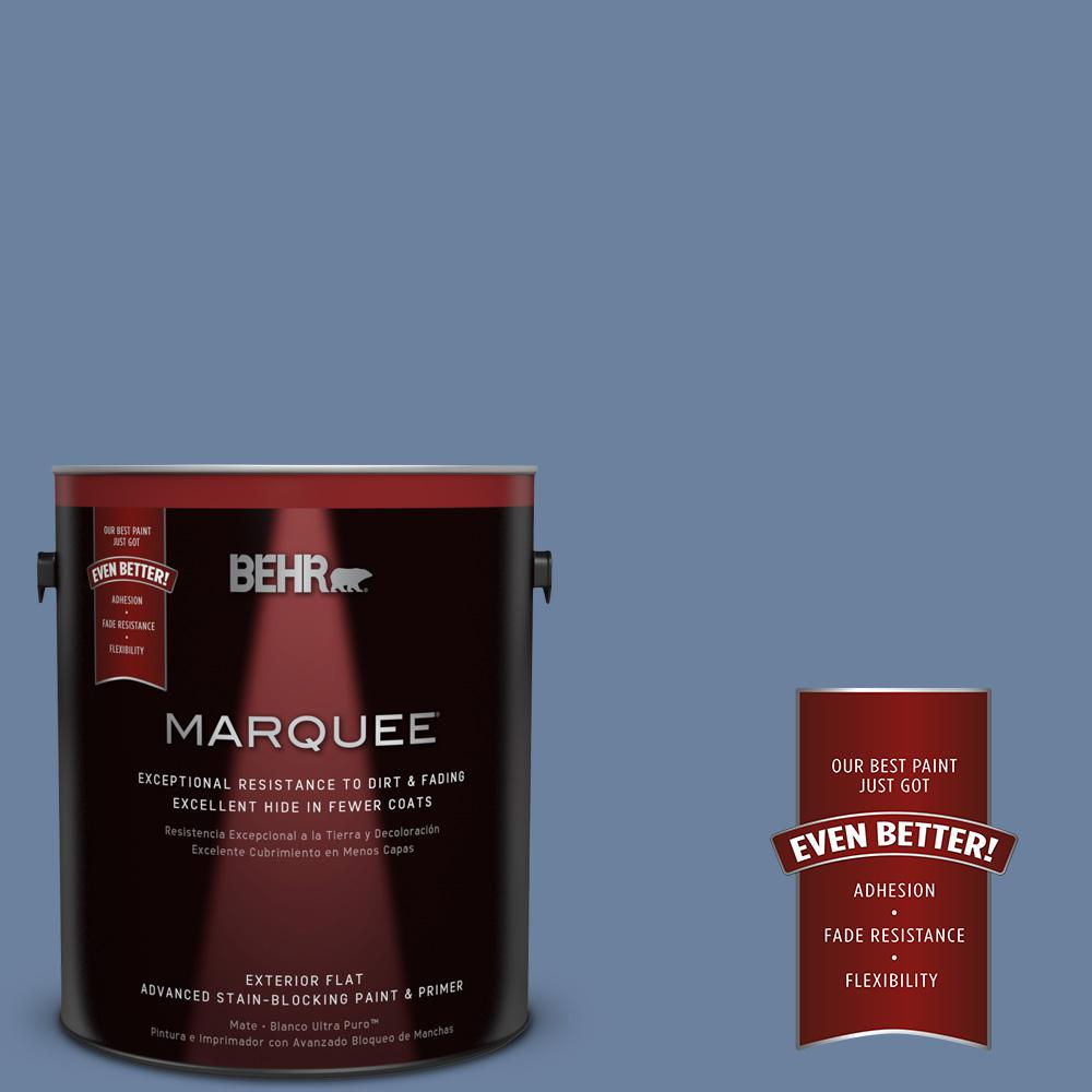 BEHR MARQUEE 1-gal. #S530-5 Brisk Blue Flat Exterior Paint-445401 - The