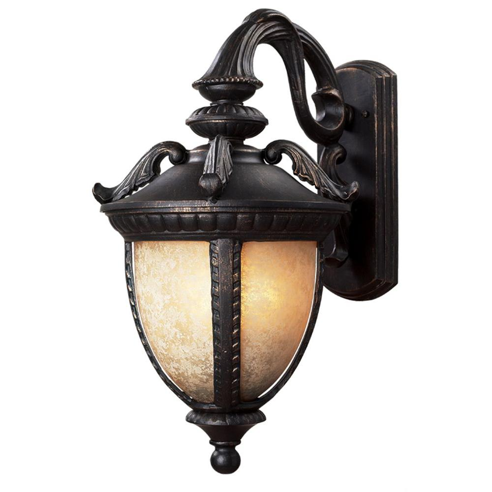 Tulen Lawrence 2-Light Outdoor Black Gold Incandescent Wall Light