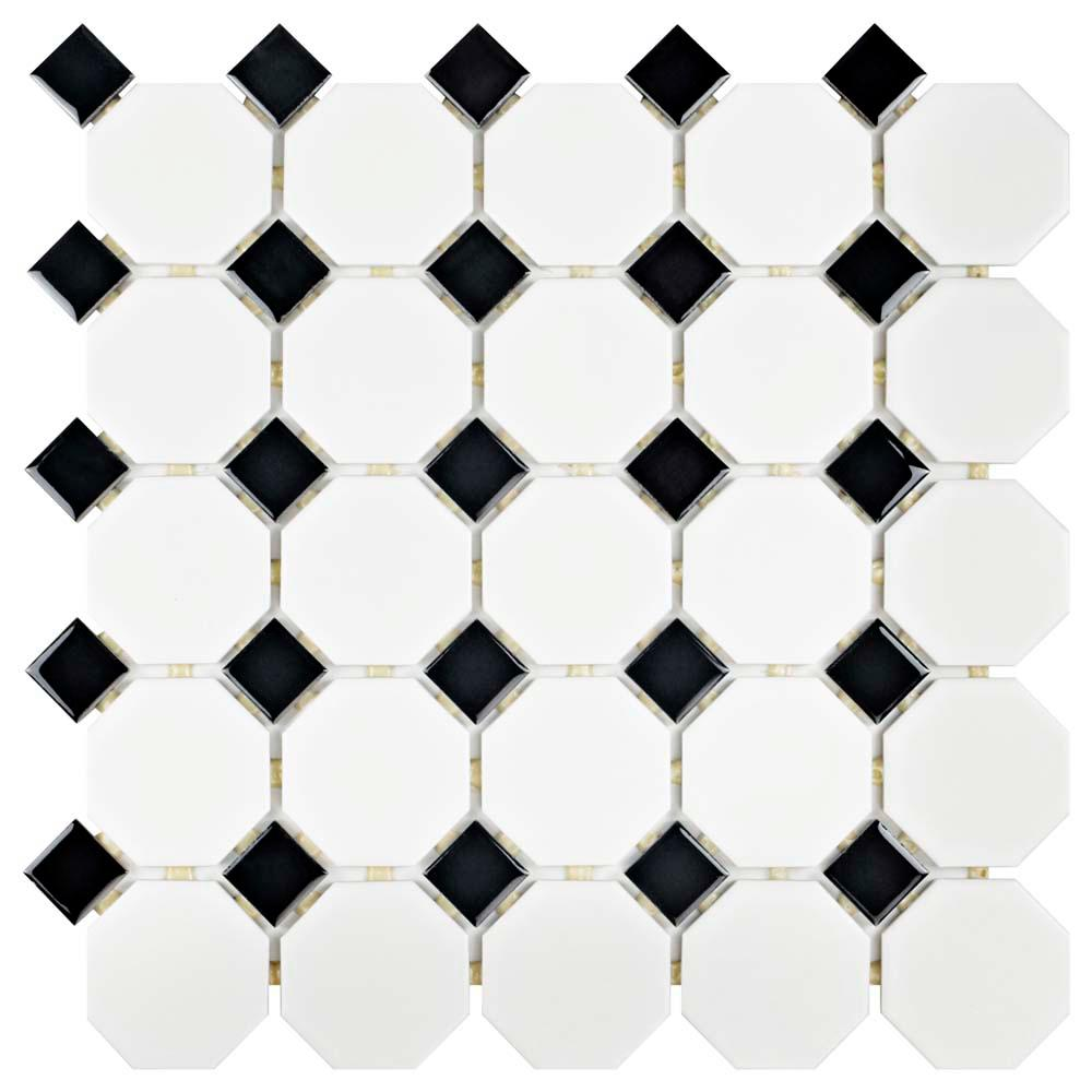 Merola Tile Metro Octagon Matte White and Black 11-1/2 in. x 11-1/2 in. x 5 mm Porcelain Mosaic Tile (9.2 sq. ft. / case)