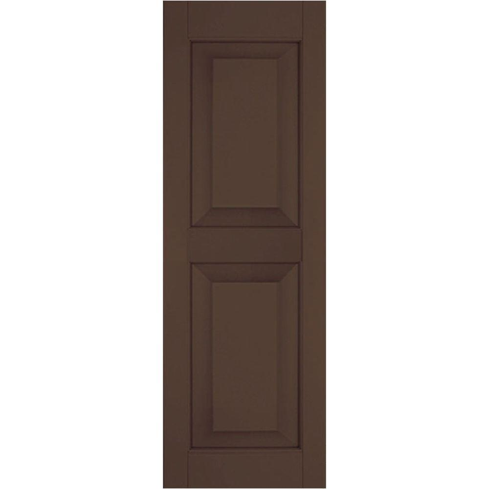Ekena Millwork 15 in. x 64 in. Exterior Real Wood Pine Raised Panel Shutters Pair Tudor Brown