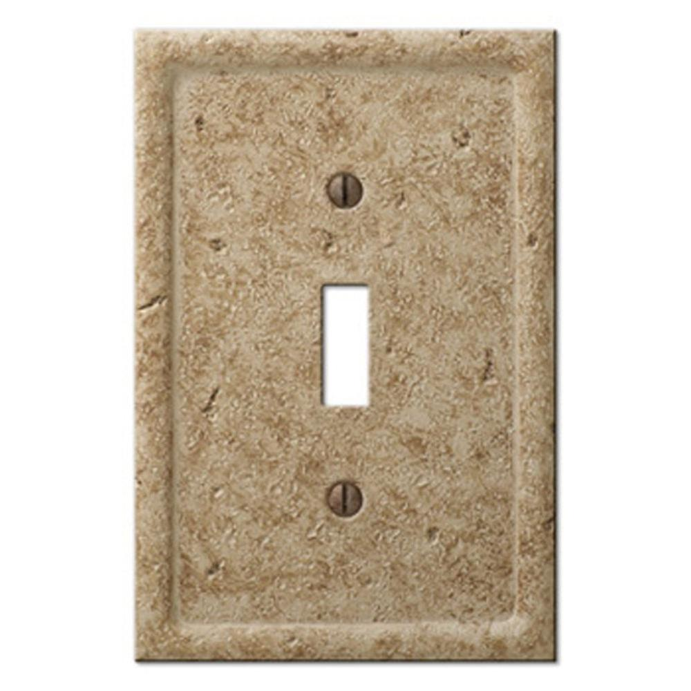 Amerelle Texture Stone 1 Toggle Wall Plate - Noche