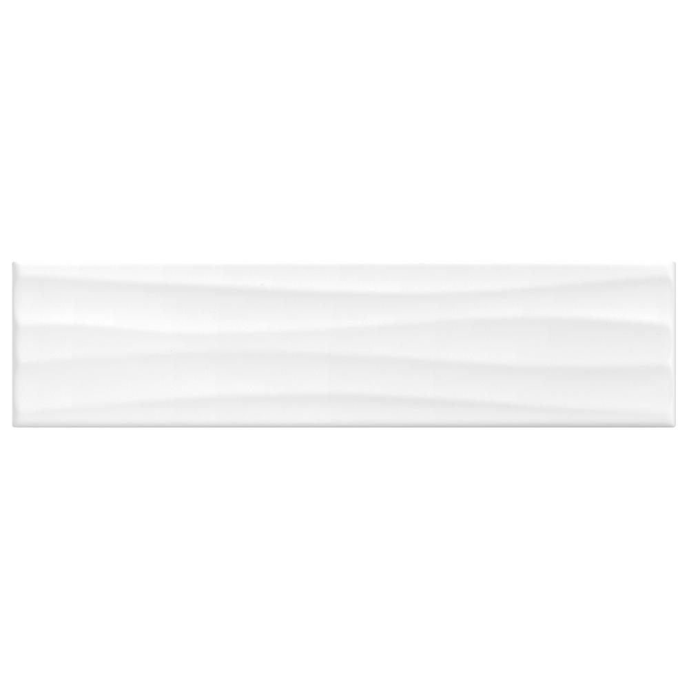 Finesse Bright White 4 in. x 16 in. Ceramic Wavy Wall