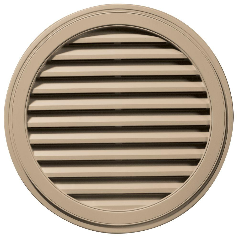36 in. Round Gable Vent in Tan