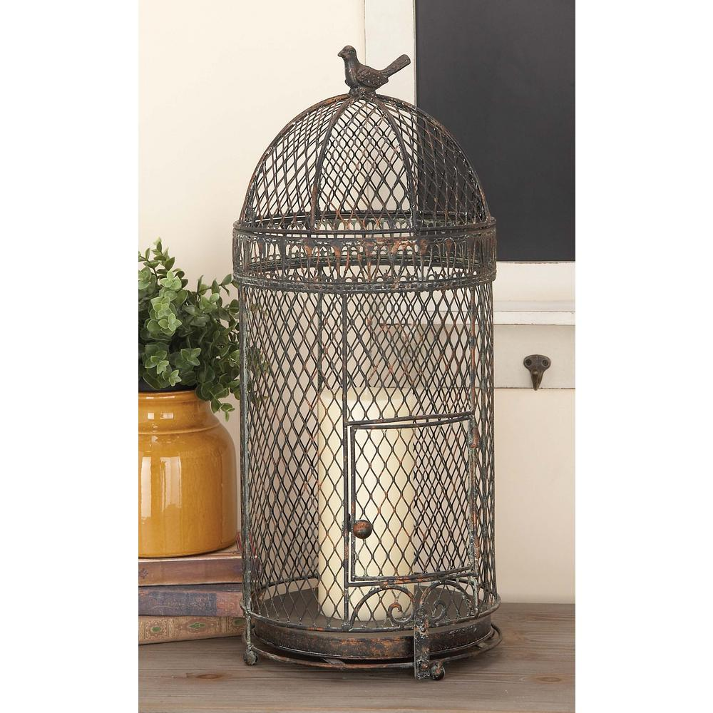 30 in. and 25 in. Black Metal Mesh Birdcage (Set of