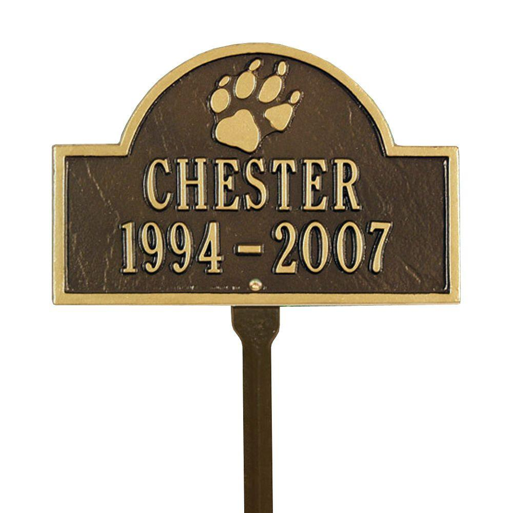 Pet Paw Mini Arch Bronze/Gold Two Line Lawn Marker