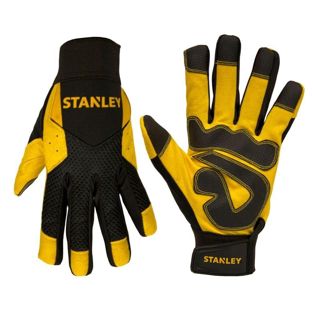 Stanley Men's Medium Yellow Synthetic Leather Palm Gloves...
