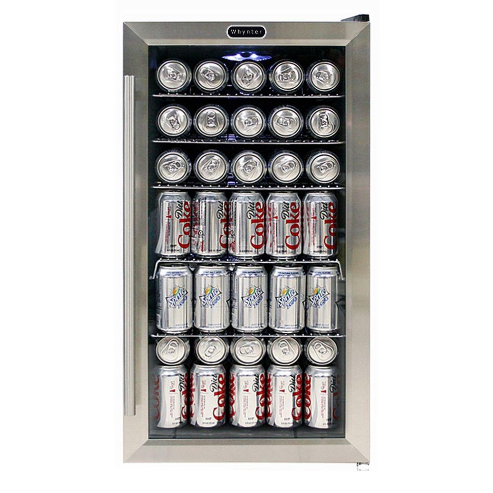 17 in. 120 (12 oz.) Bottle Beverage Refrigerator in Black/Stainless Steel