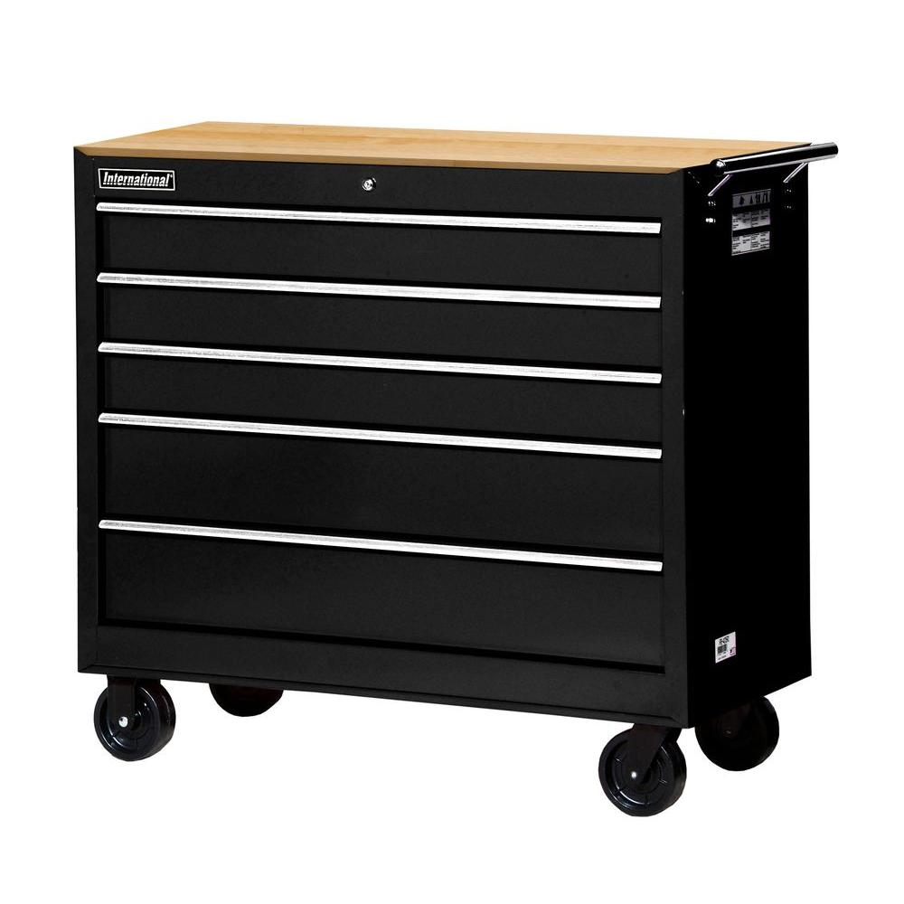 Workshop Series 42 in. 5-Drawer Cabinet with Wood Top, Black