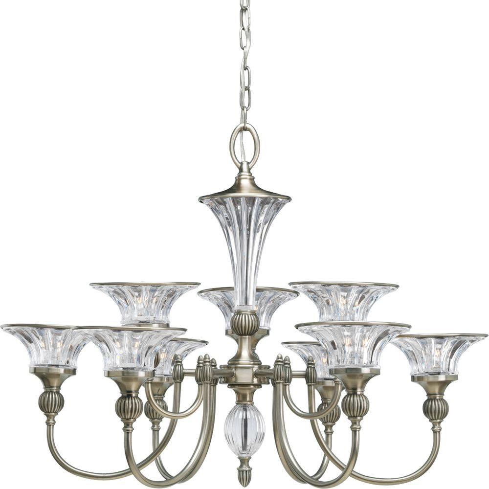 Progress Lighting Roxbury Collection 9-Light Classic Silver Chandelier-P4507-101