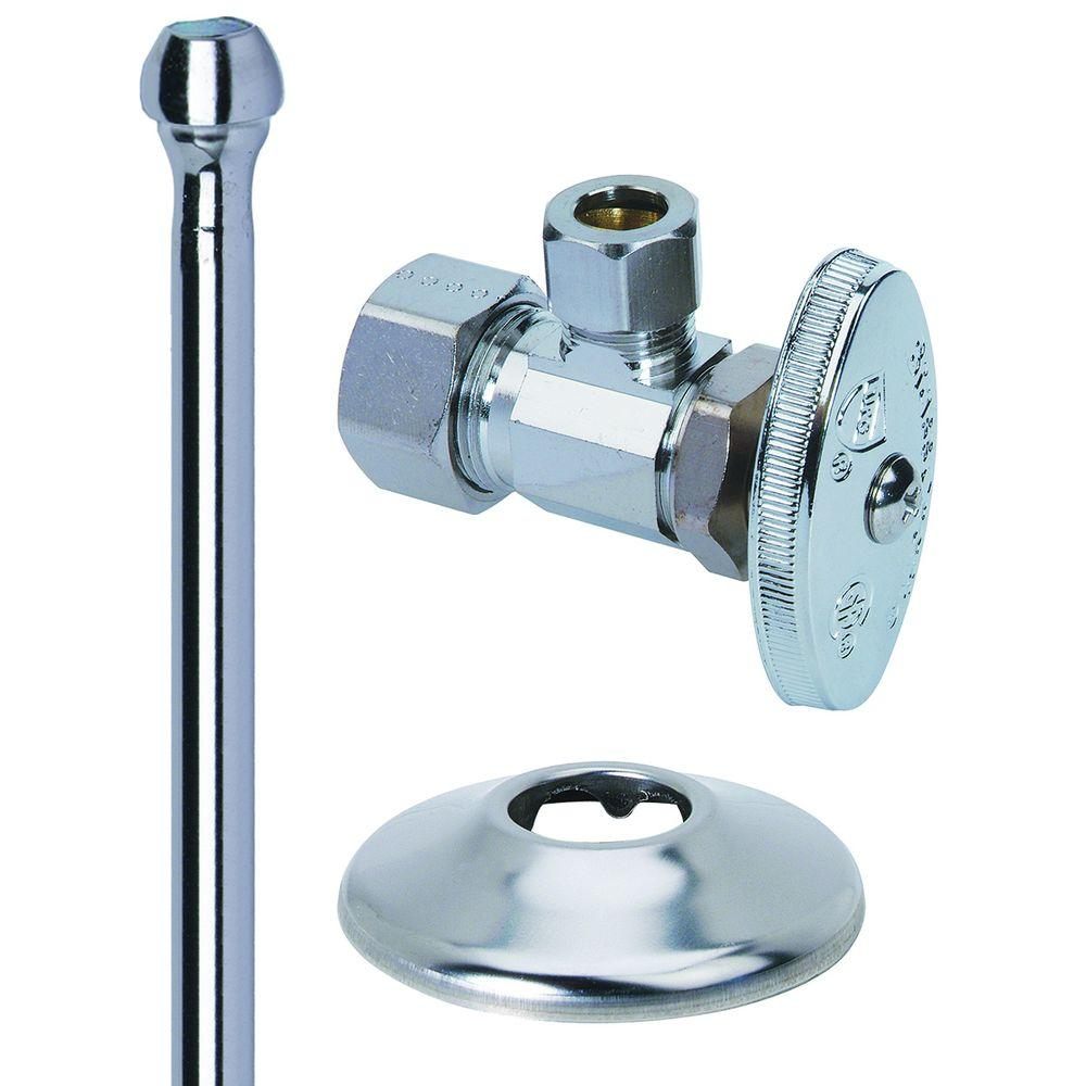 BrassCraft Faucet Kit: 1/2 in. Nom Comp x 3/8 in. O.D. Comp Brass Multi-Turn Angle Valve with 12 in. Riser and Flange