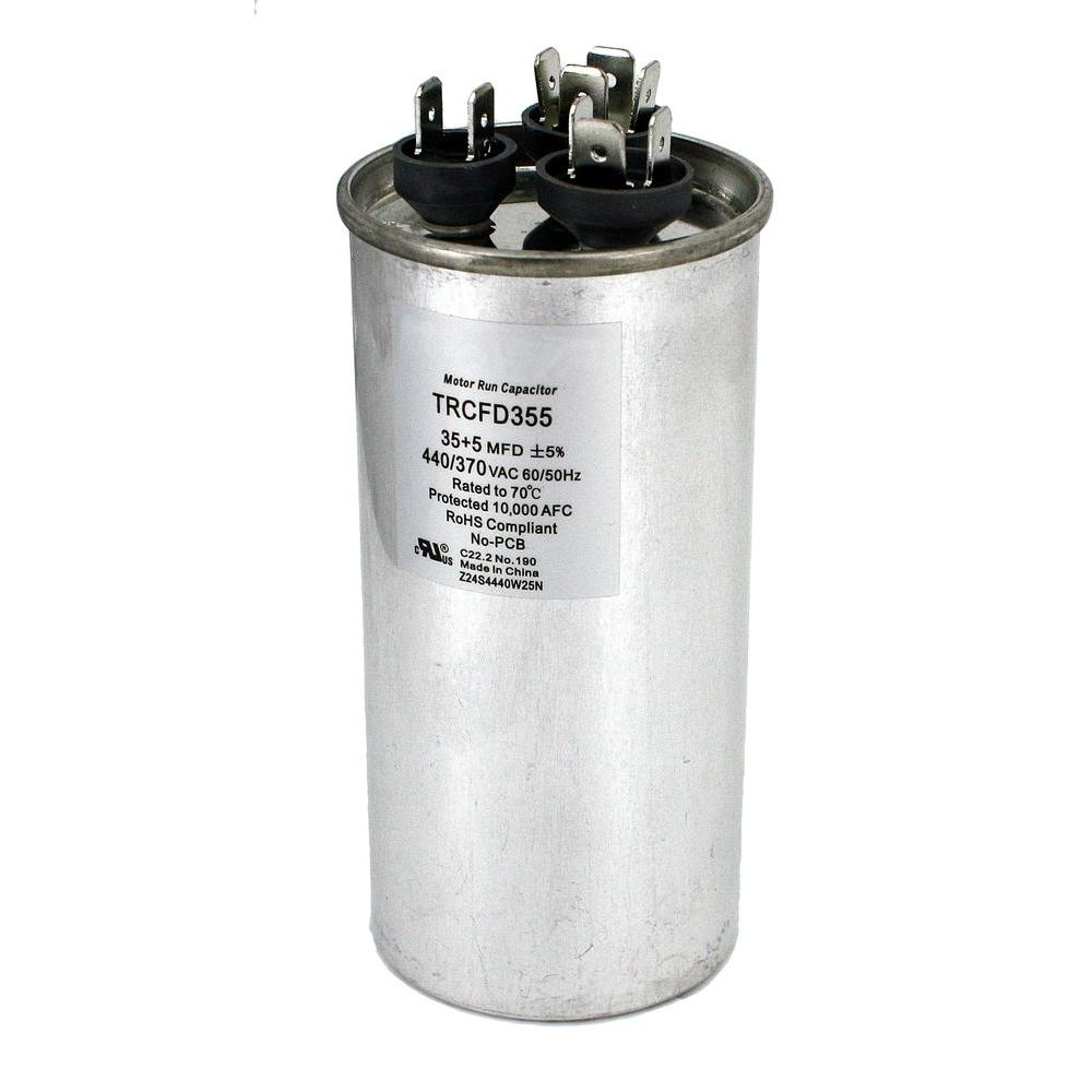 null Packard 440-Volt 35/5 MFD Dual Rated Motor Run Round Capacitor