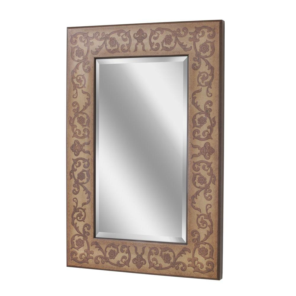 Deco Mirror 36 in. x 24 in. Regency Scroll Gold Mirror in Gold Tones with Brown Floral