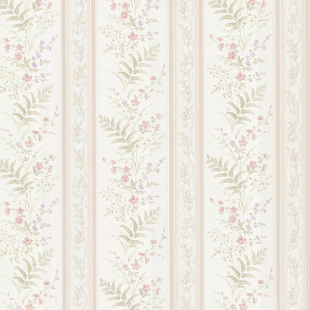 56.4 sq. ft. Bell Pink Wildflower Stripe Wallpaper